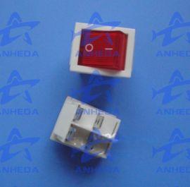 供应D4方形四脚白基红盖带灯船形开关