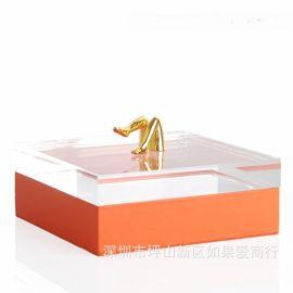橙色长方形皮革金色女人腿合金首饰盒饰品欧式创意客厅卧室摆件