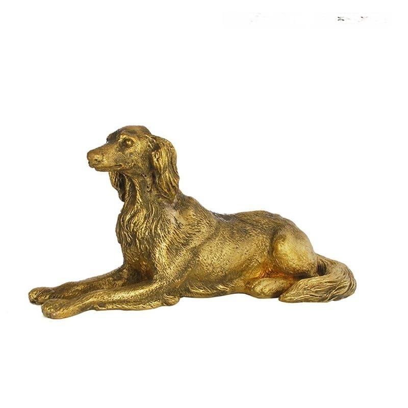 黃色銅狗狗金屬樣板間客廳書房軟裝飾品新古典別墅擺件擺臺創意
