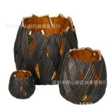 歐式美式創意黑色南瓜形狀鏤空燭臺樣板間婚房家居飾品客廳擺件