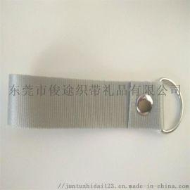 尼龙手腕带配带D字扣加热转印LOGO可做短带挂绳用