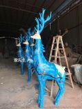 厂家热销玻璃钢园林景观梅花鹿雕塑摆件