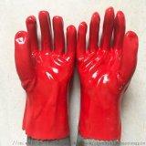 紅色PVC浸膠耐油耐酸鹼工業機械勞保手套 青島勞保手套