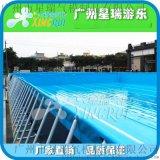 移動大型支架遊泳池移動水上樂園充氣水池滑梯組合兒童動漫水世界
