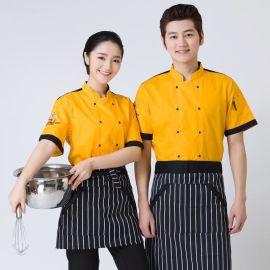 餐廳廚師服短袖廚師工作服春夏裝新款酒店廚師長工裝後廚工服糕點