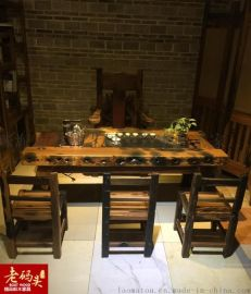 陕西精品老船木家具  船木茶台