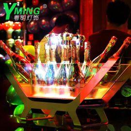 厂家直销香槟船LED发光冰桶香槟桶酒吧充电七色香槟船亚克力冰桶