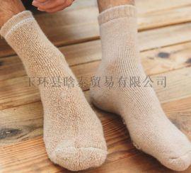 秋冬特厚羊毛袜 男士中筒袜冬季加厚羊毛保暖纯色毛圈袜子
