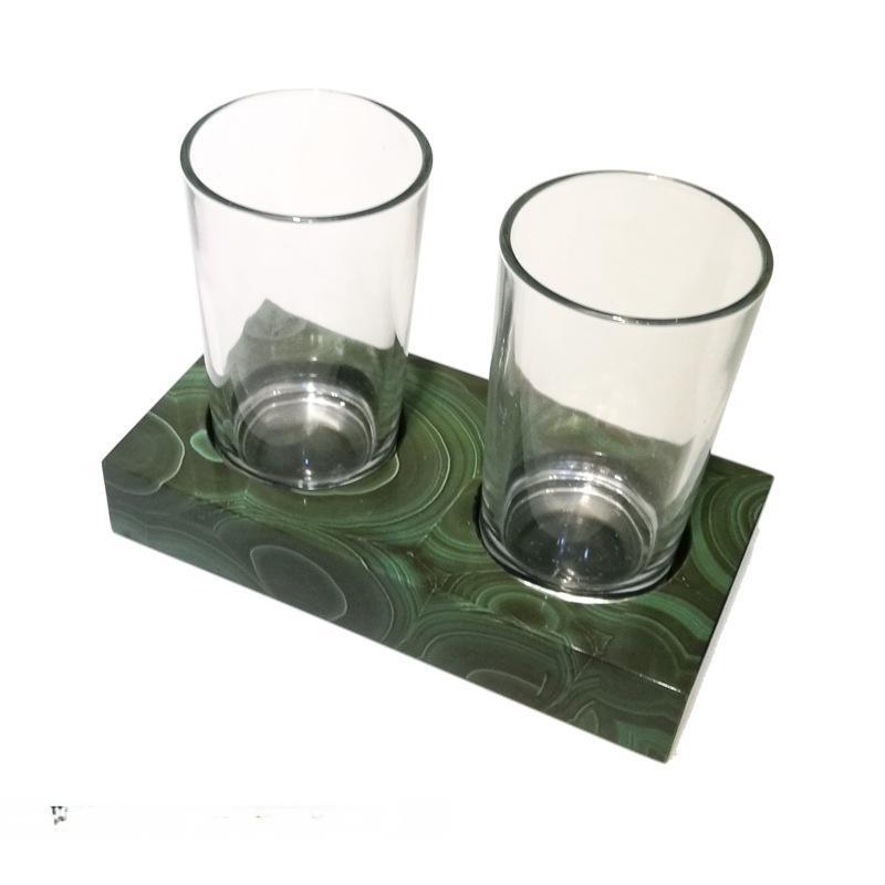 孔雀绿色水晶欧式卫浴浴室牙刷杯架漱口杯架双杯架口杯架家摆件