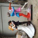 情侶雕塑_擁抱情侶雕塑人物_玻璃鋼溫馨彩繪現代情侶雕塑禮品擺件