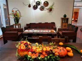 老船木沙发 原木实木客厅万字沙发组合茶桌 新款餐桌