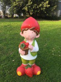 供应玻璃钢人物雕塑 卡通草莓小孩雕塑 树脂工艺品
