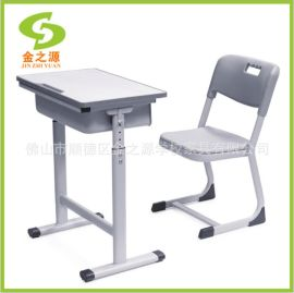 佛山廠家直銷耐用塑鋼課桌椅,單人簡易課桌椅