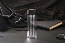 山西加汇双层玻璃杯印字广告杯礼品杯商务水晶口杯时尚玻璃水瓶印LOGO玻璃杯厂家