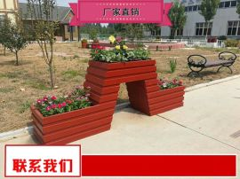 制作厂家街道景观实木花箱组合量大送货 公园塑木花箱