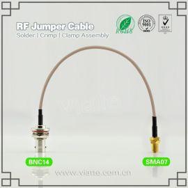 BNC(Jack)母头母针 to 反极性SMA(Plug)母头公针 直式 接RG316_RG174同轴线缆/(50Ω)