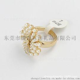 东莞盛意 外贸饰品真金电镀珍珠动物戒指女欧美合金首饰开发定制