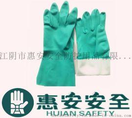 13mil-15mil-18mil绿色丁腈绒里手套, 耐酸碱手套, 防护家用工业丁晴橡胶手套