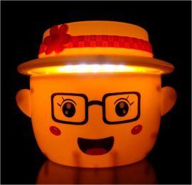 卡通表情帽子折叠伸缩LED充电台灯