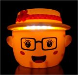 卡通表情帽子摺疊伸縮LED充電檯燈