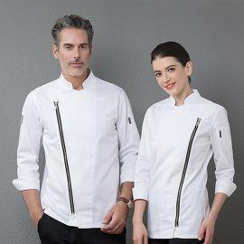 韩式厨师工作服男女拉链款酒店西餐厅厨师长服装餐饮厨房厨师服