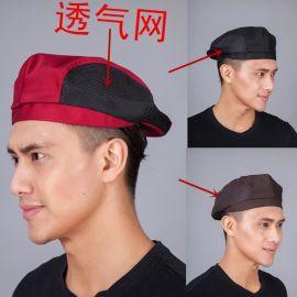 夏季透氣網廚師帽酒店帽子西餐廳貝雷帽男女鴨舌帽工作帶網前進帽