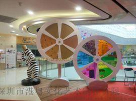 商场儿童游乐风车雕塑玻璃钢可旋转风车摆设
