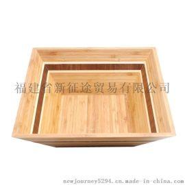 竹制花纹四方沙拉碗 竹制品 竹工艺品