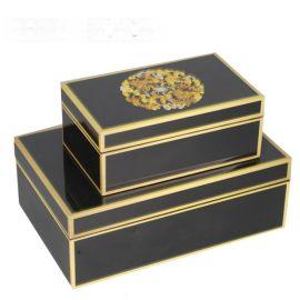 双龙纹路钢琴烤漆亚克力首饰盒简约收纳盒软装饰品样板间饰品摆件