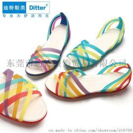 迪特洞洞鞋 七彩塑料凉拖鞋女平跟镂空手工编织拼色鱼嘴沙滩鞋批发