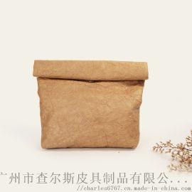 定制卷边手拿包水洗牛皮纸手提女化妆收纳包袋