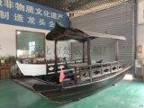 浙江江南西湖船宴大院子吃饭的木船网红水上船餐厅
