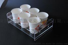 透明亚克力咖啡店饮料杯展示架有机玻璃工厂定做批发