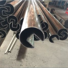 304不锈钢圆单槽管 不锈钢凹槽管50.8*1.5(槽15*15)