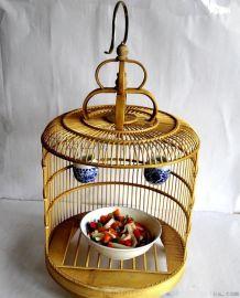 江橋竹藤生態酒店餐飲食具用品廠家爲全國酒店餐廳專業定做創意鳥籠菜盤食具