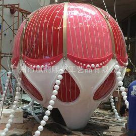 玻璃钢透光热气球雕塑圣诞节美城**展示热气球发光雕塑定制厂家