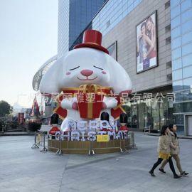 工程案例 狗年吉祥物雕塑 大型玻璃钢户外雕塑