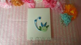 衍紙產品DIY純手工立體賀卡 藍色花朵