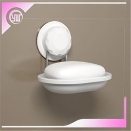 **无痕魔力盘不锈钢单层肥皂架带塑料沥水托洗手间香皂盒