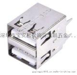 双层USB A母长体17.0 180度直插立式 直脚DIP插板 直边
