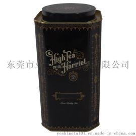 东莞业士定制巧克力铁罐,八角形茶叶铁罐,咖啡铁罐