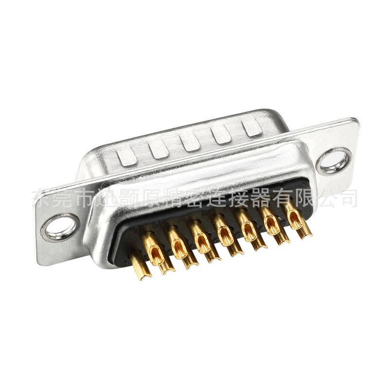D-SUB车针连接器,DB15公焊线,传统铆合,端子镀金,厂家批发,