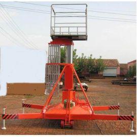 信阳市 息县启运液压电动平台 双梯套缸式升降机