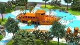木質組合滑梯戶外木制海盜船小區兒童樂園戶外遊樂設備