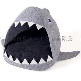 毛毡创意鲨鱼宠物窝 耐脏宠物用品宠物房子