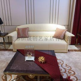 現代簡約輕奢不鏽鋼客廳沙發組合