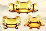 中式實木吸頂燈復古羊皮吊燈 客廳餐廳臥室燈具 茶樓酒樓會所工程燈飾