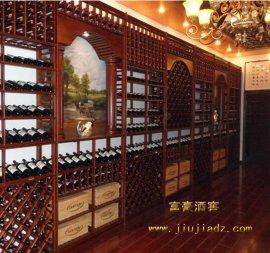 红酒卖场松木实木酒架定制