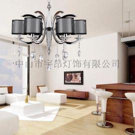 歐式現代鐵藝水晶吊燈客廳餐廳臥室吊燈6614