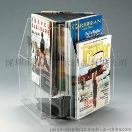 A4压克力期刊架, 三面旋转杂志架,亚克力杂志展示架